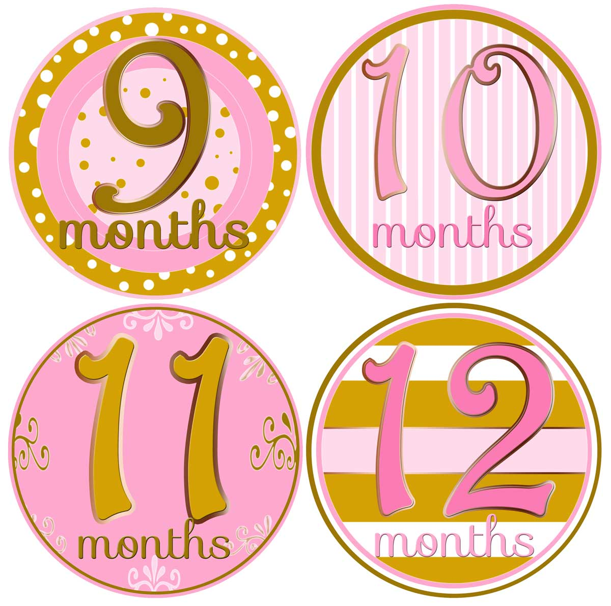 monthly birthday stickers ; Pink-Gold-12