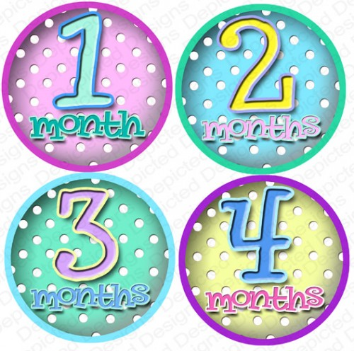 monthly birthday stickers ; polka_dots_monthly_onesie_stickers_baby_shower_gift_2165be0c