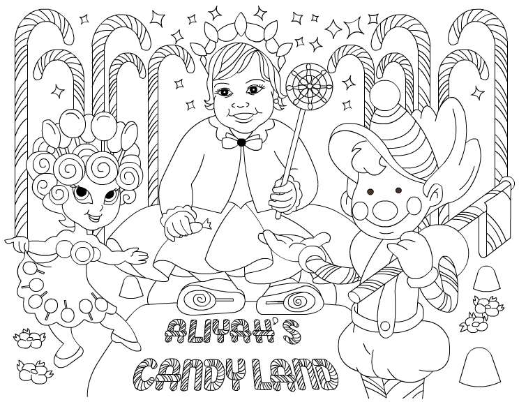 my birthday party drawing ; 01outline
