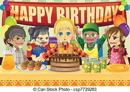 my birthday party drawing ; kids-birthday-party-eps-vectors_csp7729283