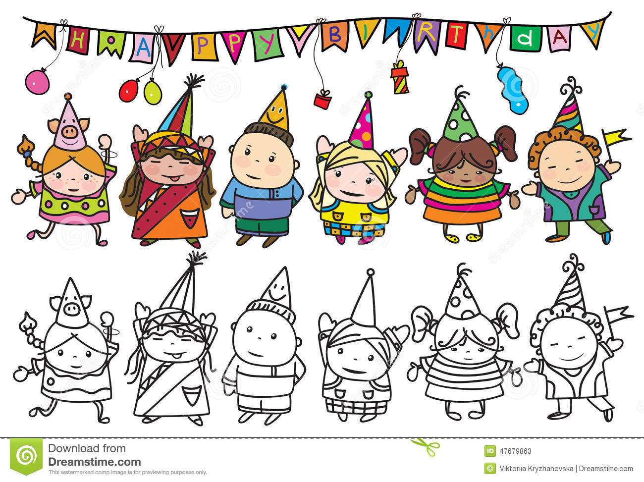 my birthday party drawing ; vector-group-children-birthday-party-background-my-creative-handdrawing-you-can-use-kids-design-etc-made-47679863