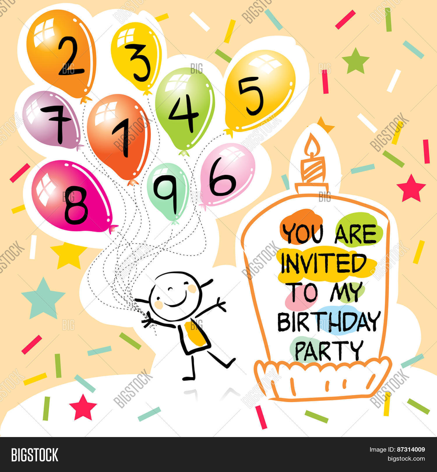 my birthday party drawing for kids ; 87314009