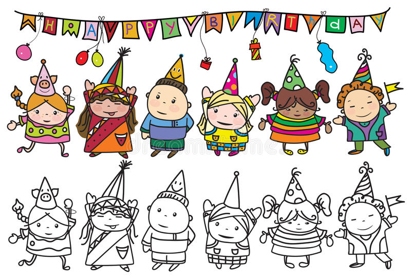 my birthday party drawing for kids ; vector-group-children-birthday-party-background-my-creative-handdrawing-you-can-use-kids-design-etc-made-47679863