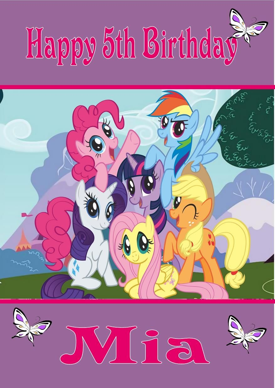my little pony birthday poster ; personalised-my-little-pony-birthday-card-260-p