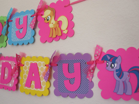 my little pony happy birthday banner ; il_570xN