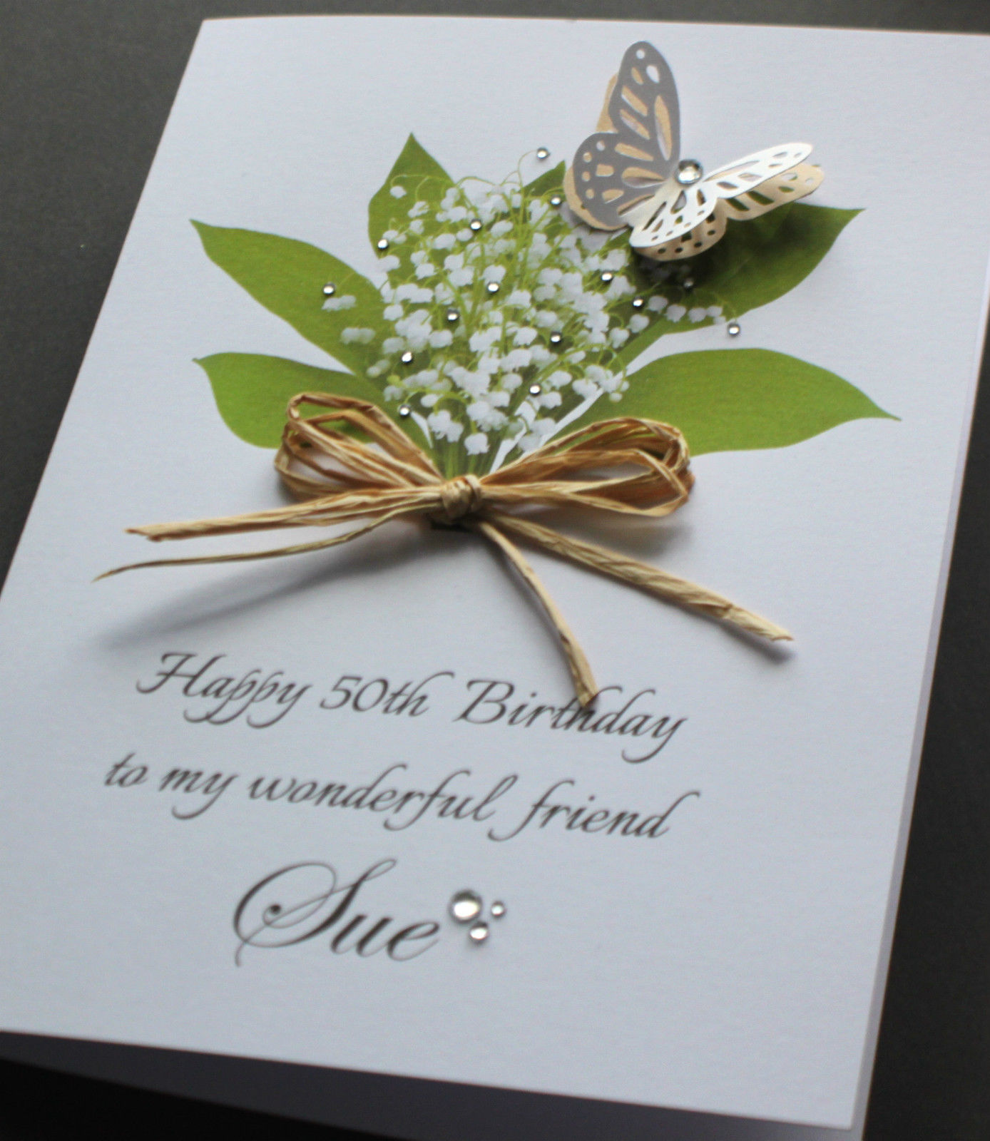 online birthday greeting cards for friends ; A5-Handmade-Personalised-LILY-OF-THE-VALLEY-Birthday-Card-sister-friend-mum-nan_4