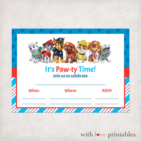 paw patrol birthday invitation template ; ba4e4e2dbb32631824778e931649d441