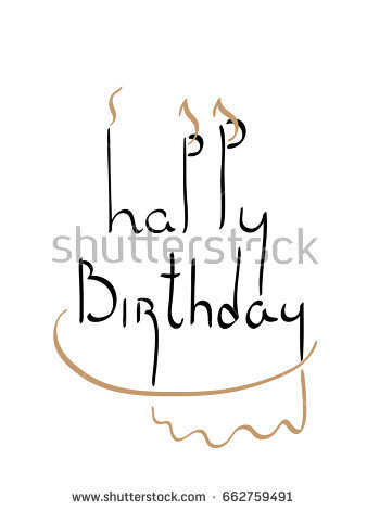 pencil drawing for birthday ; stock-vector-happy-birthday-pencil-calligraphic-drawing-stylized-image-of-candles-and-birthday-cake-662759491
