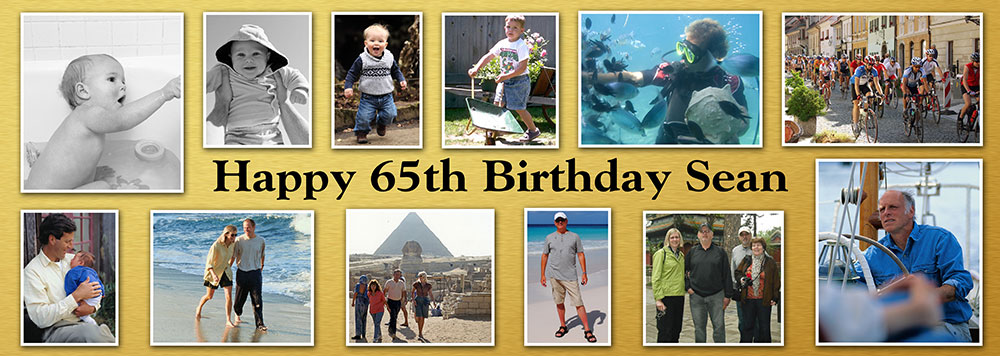 personalised birthday posters ; TIYL24-12-photo-banner-gold-background