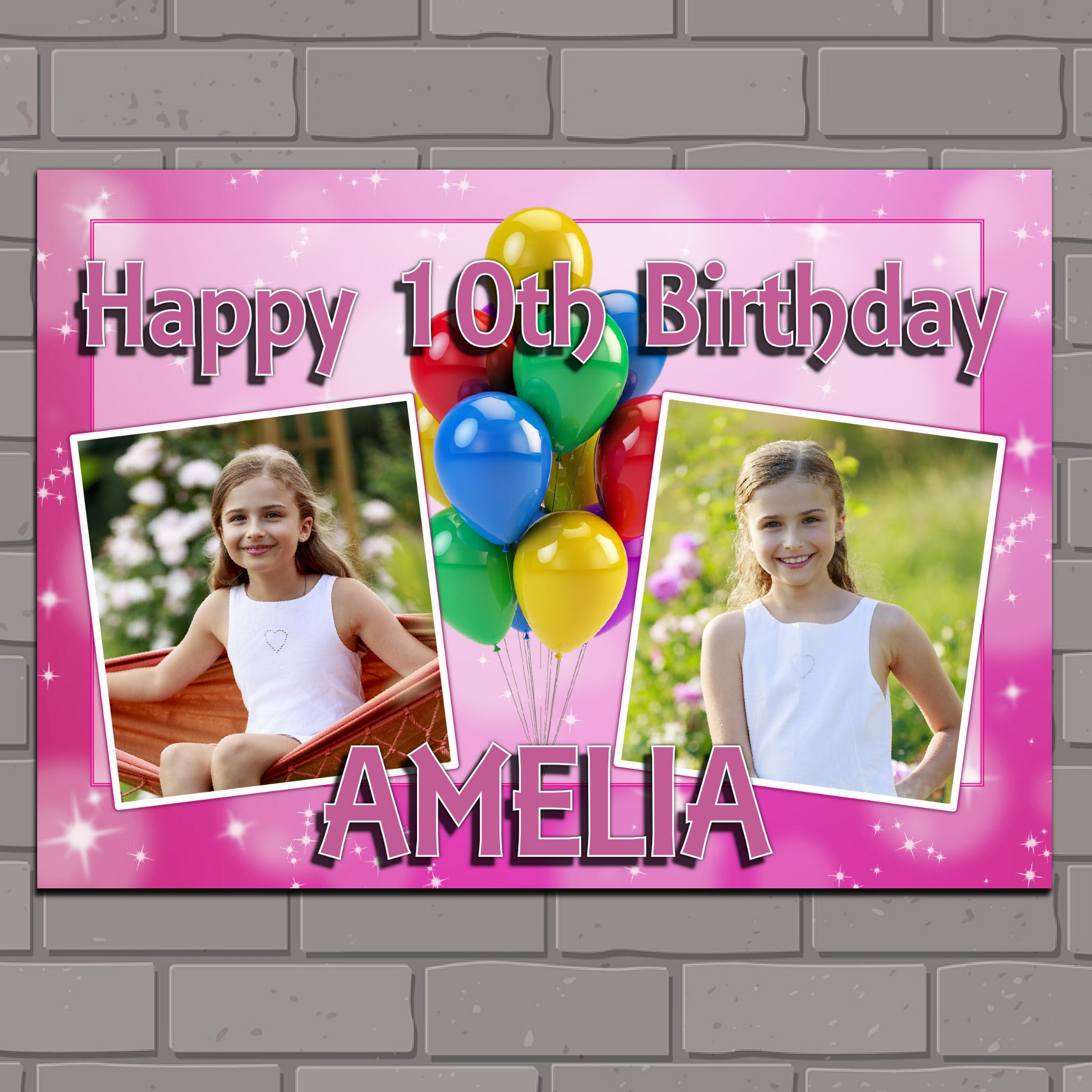 personalised birthday posters ; personalised-birthday-party-photo-banner-poster-n116-girls-balloons-pink-sparkle-any-age-size-a1-59