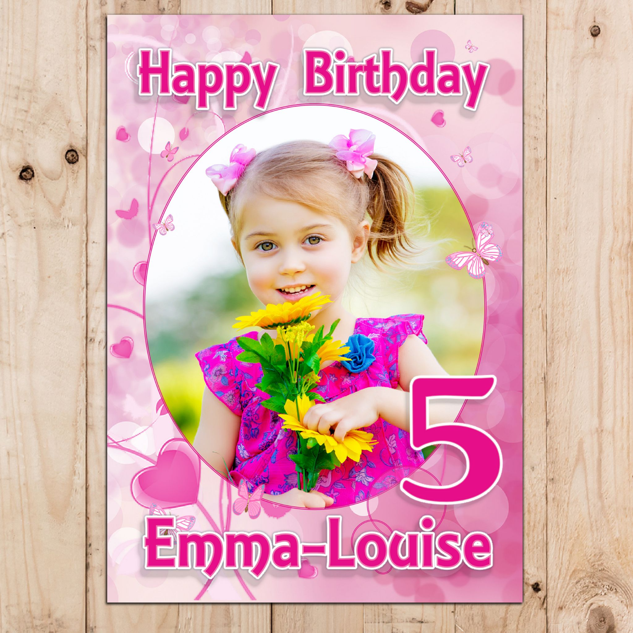 personalised birthday posters ; personalised-girls-pink-hearts-and-butterflies-happy-birthday-photo-banner-poster-n38-13402-p