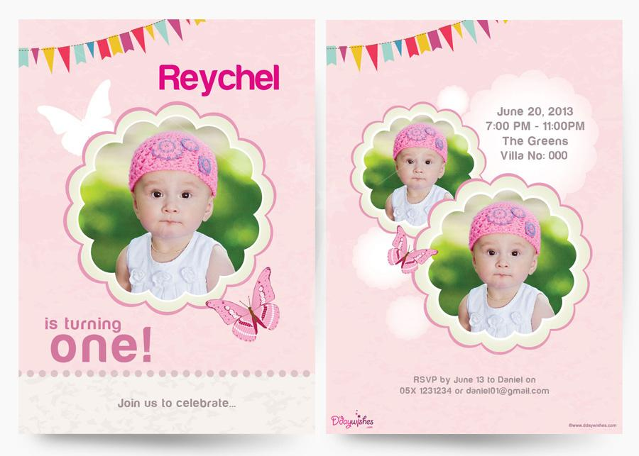 personalised photo birthday invitations ; butterflies-first-birthday