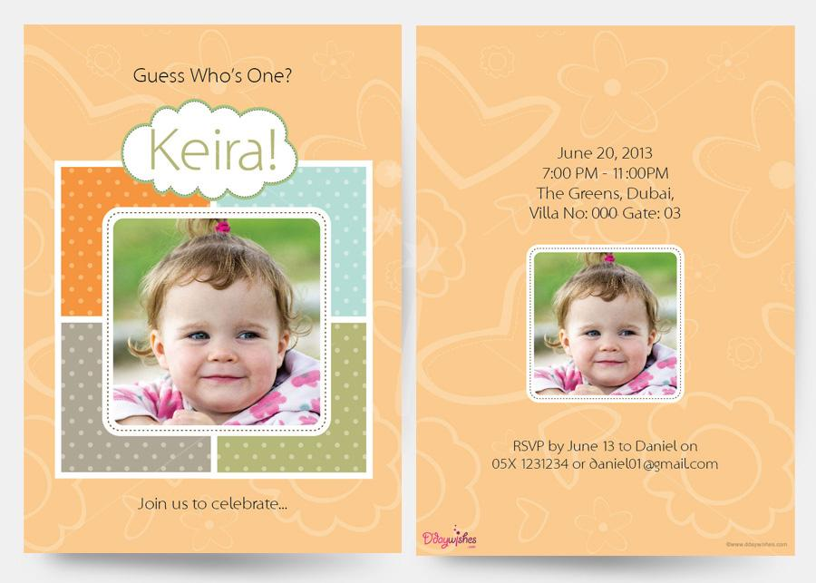 personalised photo birthday invitations ; guess-who-is-one-first-birthday