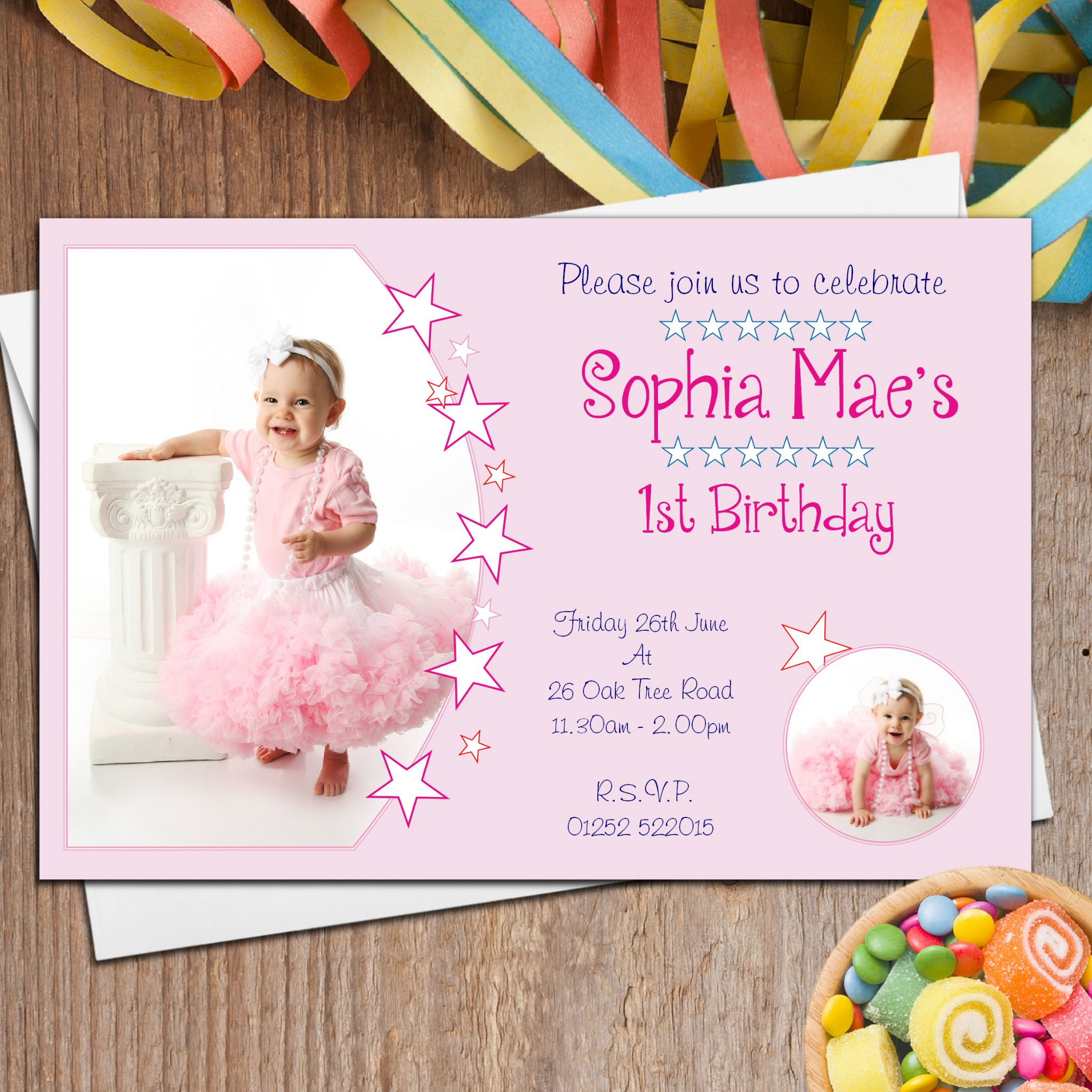 personalized 1st birthday invitations photo ; 10-personalised-girls-first-1st-birthday-party-photo-invitations-n29-12715-p