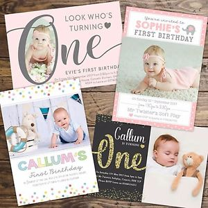 personalized 1st birthday invitations photo ; s-l300
