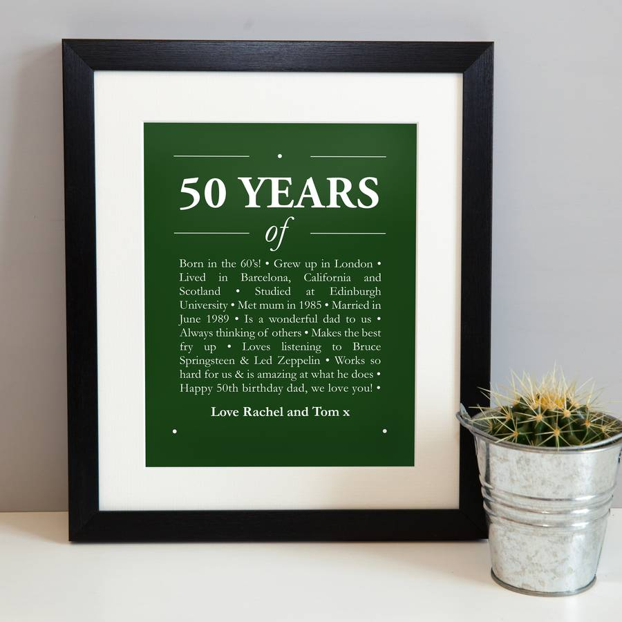 personalized 50th birthday picture frame ; original_personalised-50th-birthday-print