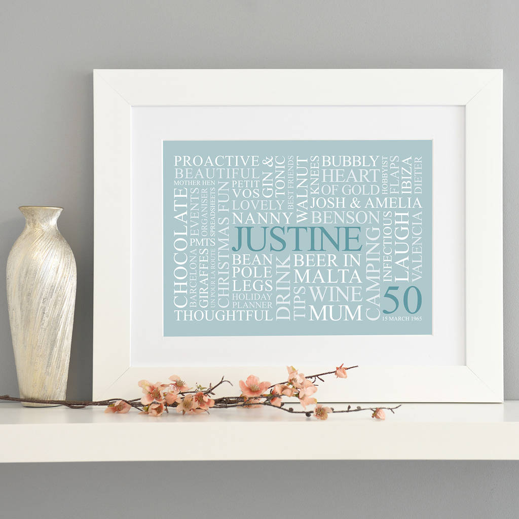 personalized 50th birthday picture frame ; original_personalised-50th-birthday-word-art