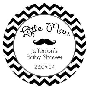 personalized b day stickers ; chevron_mustache_roundlabel_black