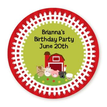 personalized birthday party stickers ; farm_animals_round_sticker