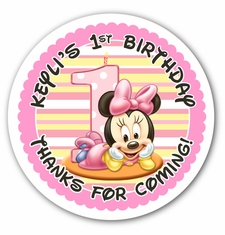 personalized first birthday stickers ; 1st%2520birthday%2520stickers%2520personalized%2520;%2520baby-minnie-first-birthday-personalized-3-33-glossy-stickers-3