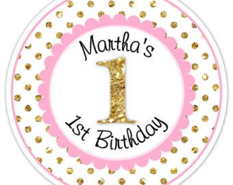 personalized first birthday stickers ; il_340x270