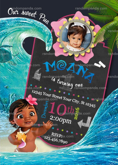 personalized photo birthday party invitations ; MoanaBabyInvite7x5