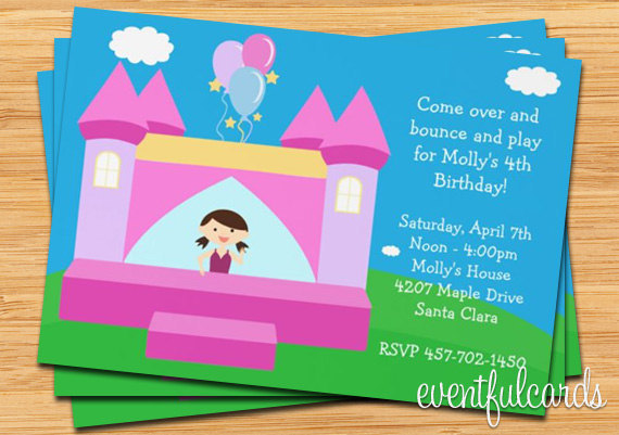 personalized photo birthday party invitations ; bounce-house-kids-birthday-party-invitation-personalized-kids-birthday-party-invitations