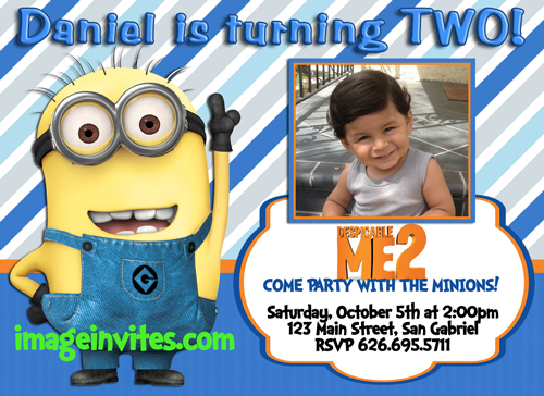 personalized photo birthday party invitations ; despicable-me-minion-photo-birthday-party-invitations-1