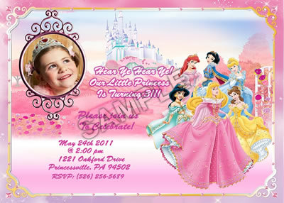 personalized photo birthday party invitations ; disney_princess_photo_custom_birthday_party_invitation_personalized_df0bd686