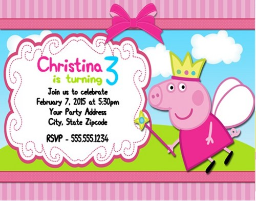 personalized photo birthday party invitations ; peppa-pig-birthday-party-invitations-personalized-custom-peppa-pig-invite