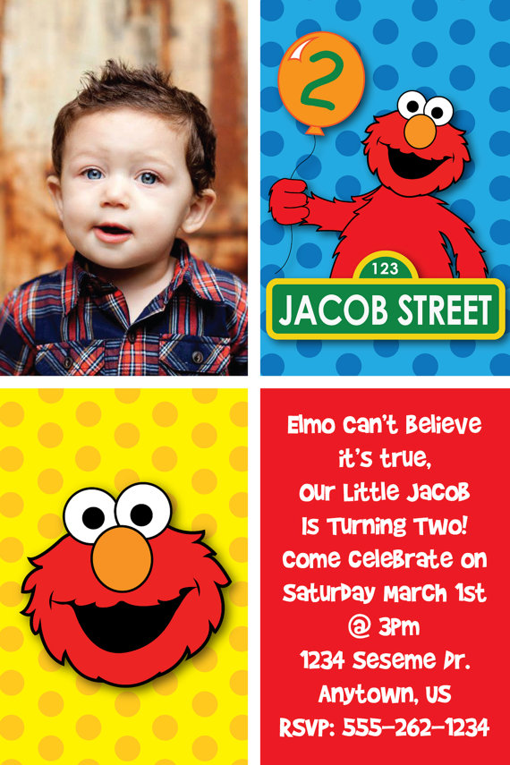 personalized photo elmo birthday invitations ; 097ad3b66deaf49c1f2da2b873e351e7