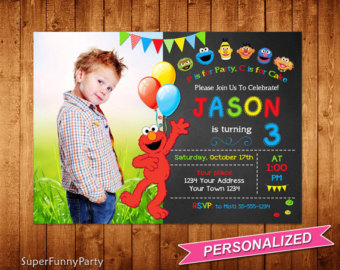 personalized photo elmo birthday invitations ; il_340x270