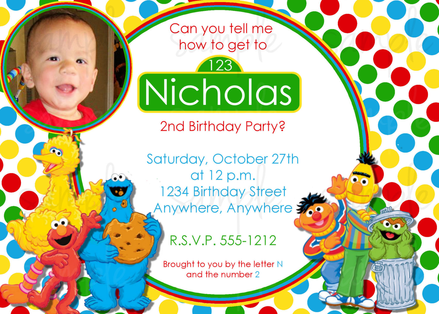 personalized photo elmo birthday invitations ; sesame-street-photo
