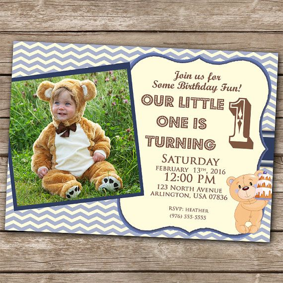 personalized photo first birthday invitations ; 60665c90984e0d4898086d1dc370db75