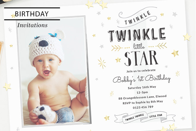personalized photo first birthday invitations ; Header-Template