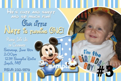 personalized photo first birthday invitations ; baby_mickey_mouse_custom_photo_first_birthday_invitation_digital_file_you_print_407ac75e