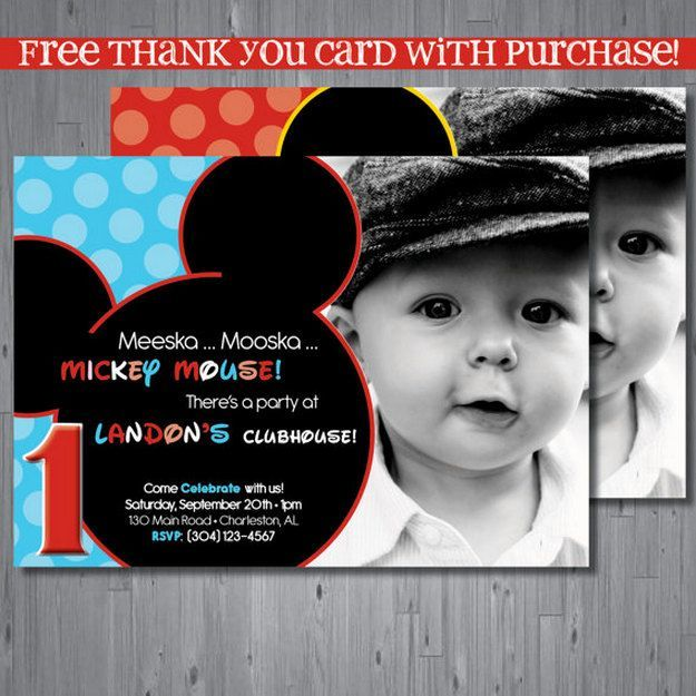 personalized photo first birthday invitations ; best-25-mickey-mouse-invitation-ideas-on-pinterest-mickey-mouse-personalized-mickey-mouse-1st-birthday-invitations