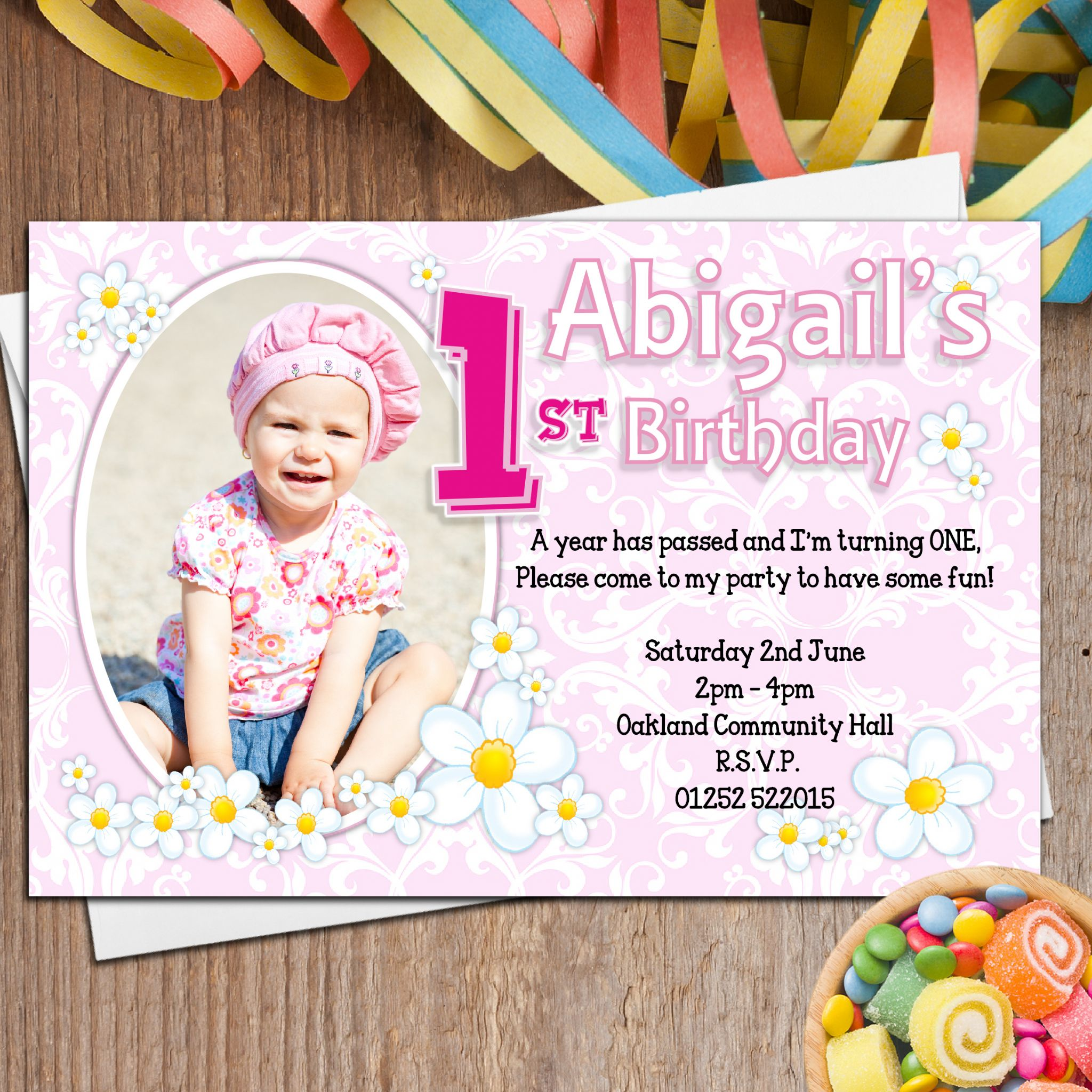 personalized photo first birthday invitations ; birthday-personalized-first-1st-damask-birthday-party-invitation-with-photo-frame