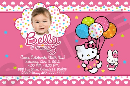 personalized photo first birthday invitations ; free-printable-hello-kitty-birthday-party-invitations-template-customized-1st-birthday-invitations