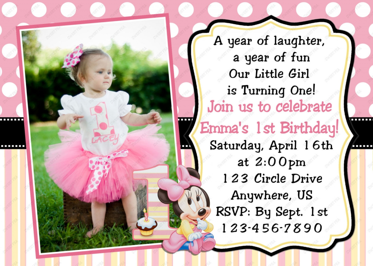 personalized photo first birthday invitations ; personalized_1st_birthday_invitations_minnie_mouse