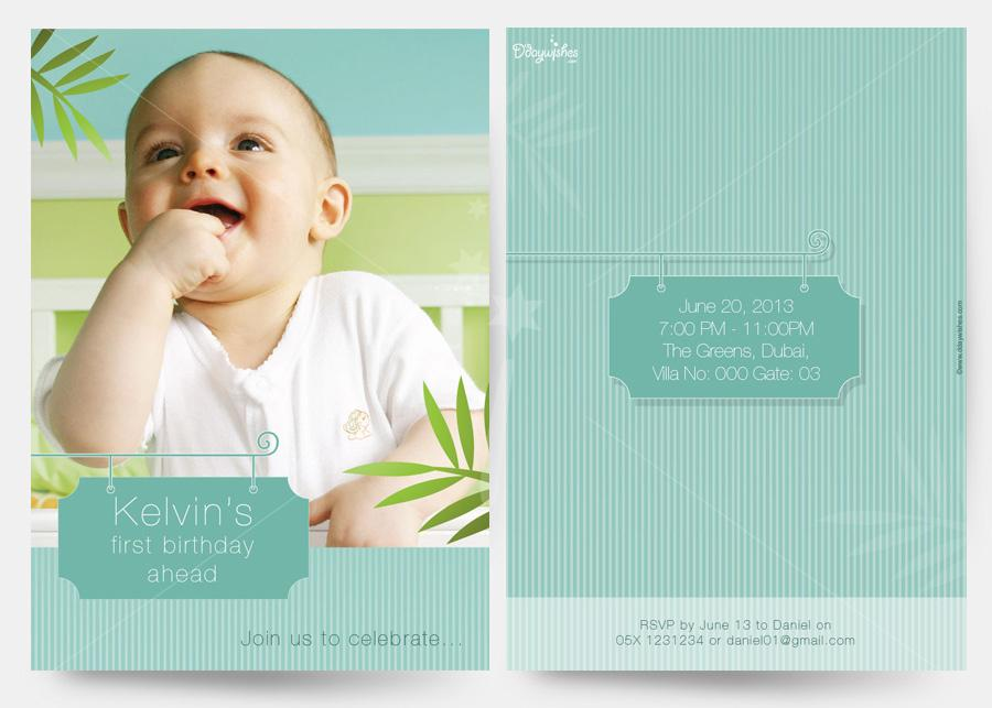 personalized photo first birthday invitations ; white-green-strips-first-birthday