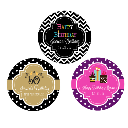 personalized stickers for birthday favors ; Personalized-Birthday-Round-Favor-Labels-details