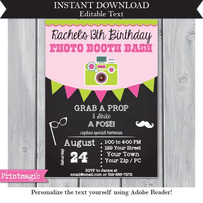 photo booth birthday party invitations ; 54b09ae959f4a614a97bb6d614658779