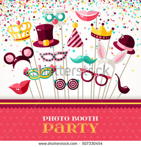 photo booth birthday party invitations ; stock-vector-photo-booth-party-invitation-concept-border-with-carnival-masks-and-falling-confetti-on-white-507330454