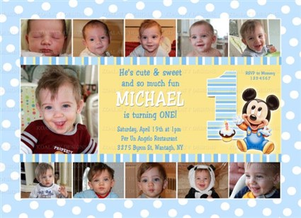 photo collage birthday invitations ; baby_mickey_collage