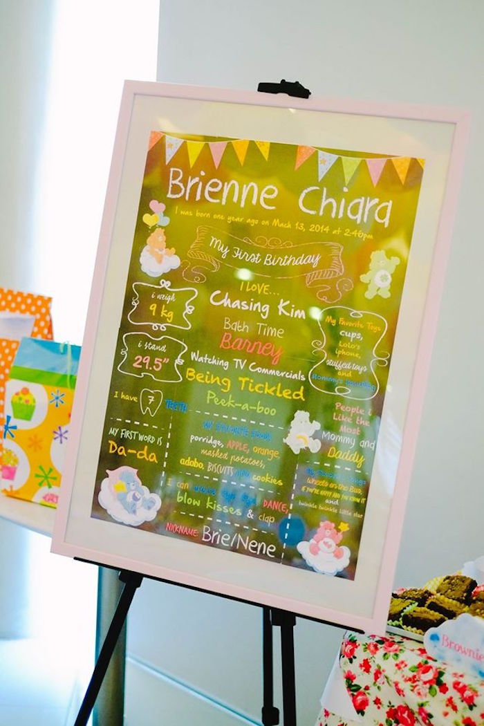 picture board for birthday party ; Care-Bears-Themed-Birthday-Party-via-Karas-Party-Ideas-KarasPartyIdeas