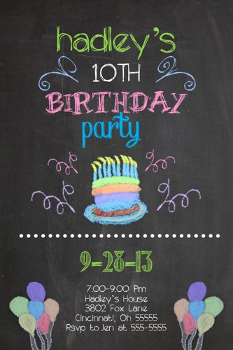 picture board for birthday party ; chalk_black_board_custom_birthday_party_invitation_add_photo_any_color_91b751fa