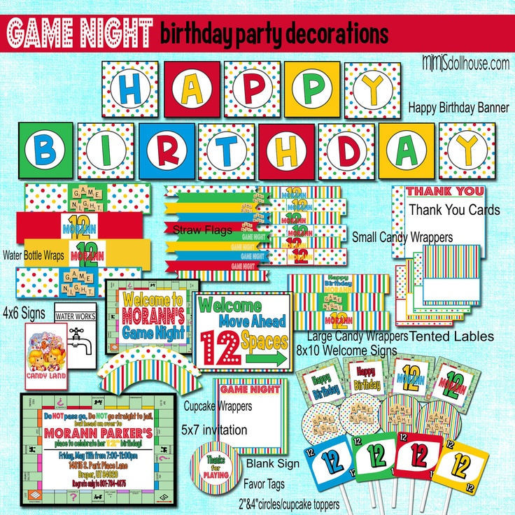picture board for birthday party ; trendy-inspiration-board-game-birthday-party-ideas-best-25-night-parties-on-pinterest