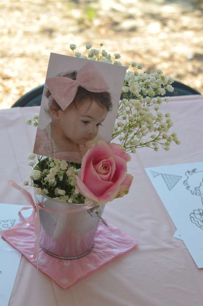 picture centerpieces for birthday party ; photo-table-centerpiece-first-birthday-idea