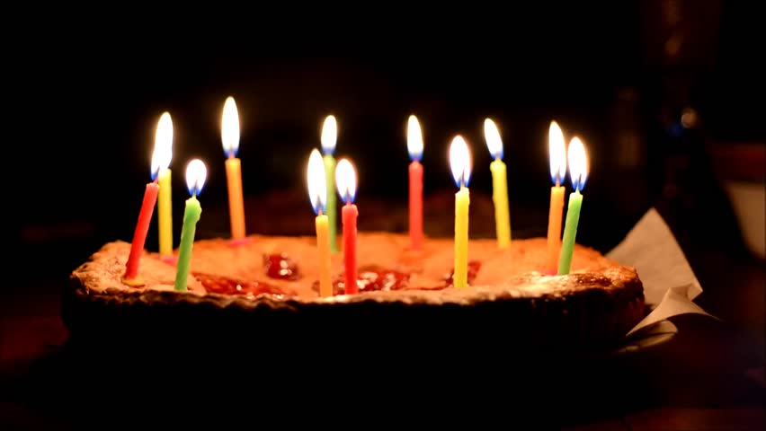 picture of birthday cake with burning candles ; 1